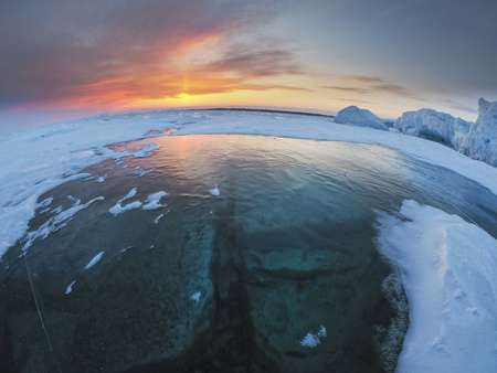 Sunset Over Ice