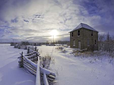 Barn and snow