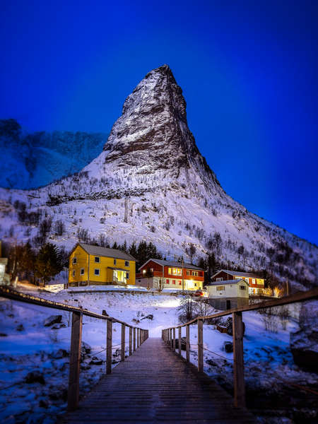 Mountain and Village Lights
