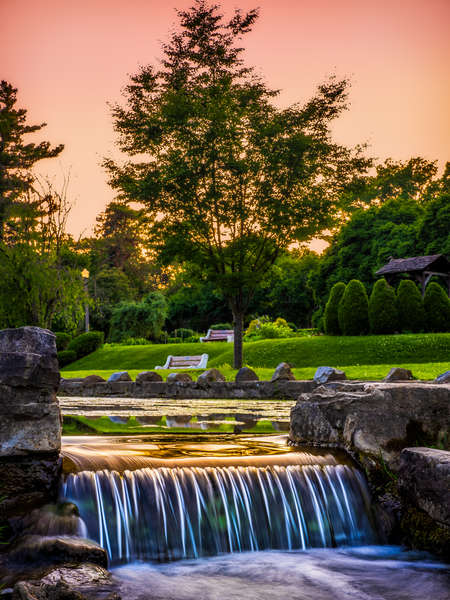 waterfall and sunset