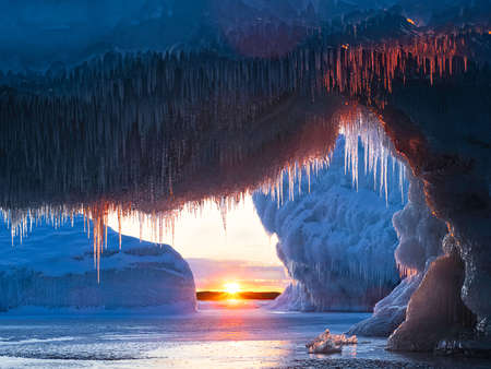 Sunrise from icy cave