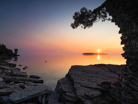 Sunset from rocky shore