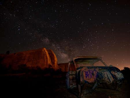 Graffiti Car Under Night Sky
