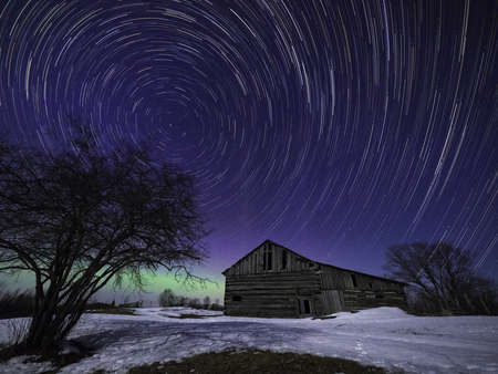 Star trails and Barn